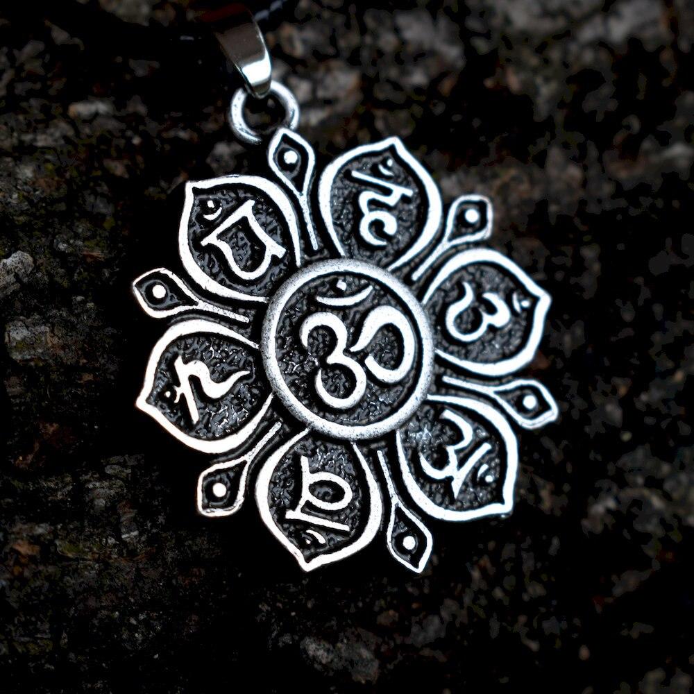 ★  SanLan 1 шт. Двухсторонняя Йога 7 Чакра Подвески буддийские мандала ожерелье ОМ Лотос Цветок амулет  ✔