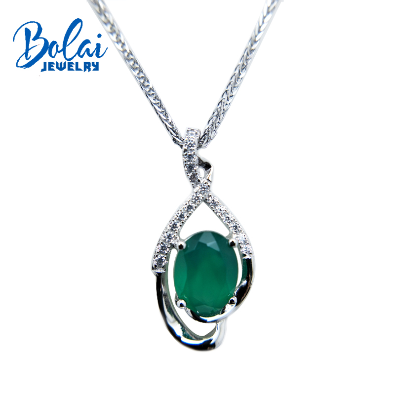 Bolaijewelry,classic pendant necklace natural green agate and green amethyst fine jewelry for women anniversary party gift