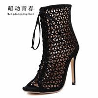 New Arrival Women Sandals Fashion Ladies Shoes Hollow High Heels Shoes Woman Pumps Lace Up Sapato