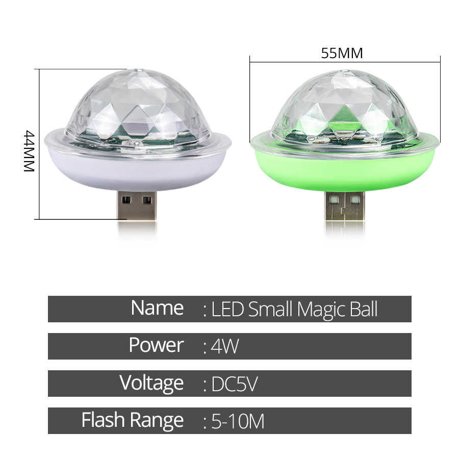 Mini USB Fließende LED Lauf Bühne Licht Kristall Magic Disco Ball 4 W RGB Strobe Licht Disco DJ Karaoke home Party Lichter