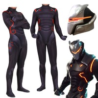 New Hot Game FortniteD Oblivion omega Cosplay Costume Halloween Adults Kids Childrens Zentai Jumpsuits Rompers Bodysuit Led Mask