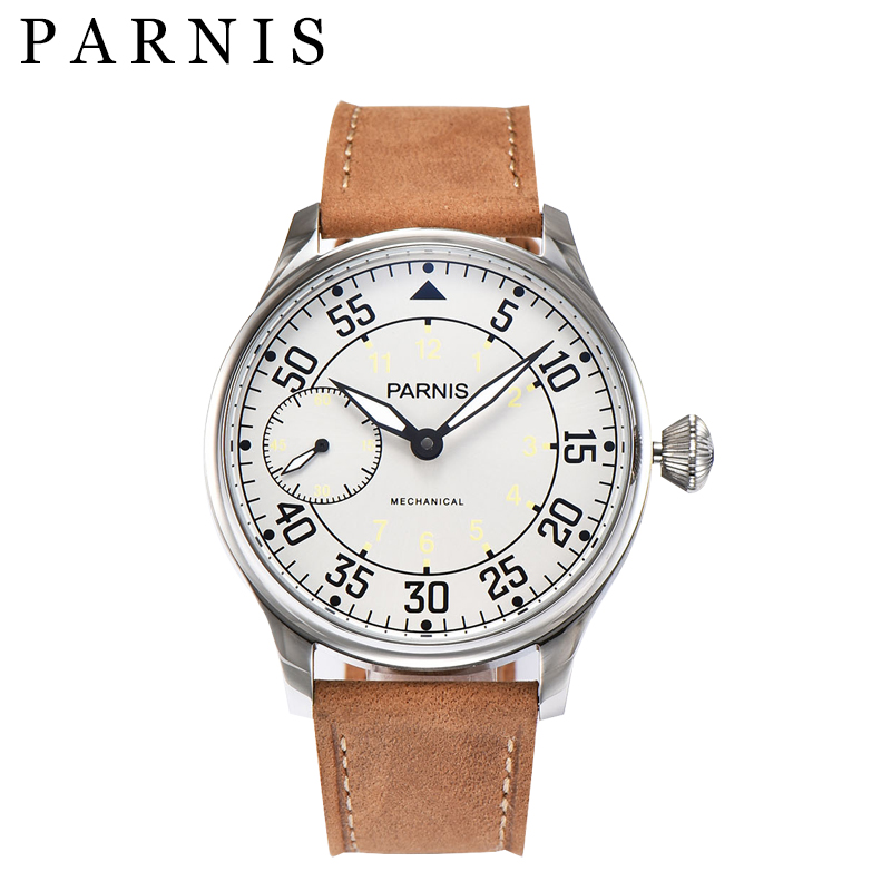 Parnis 44mm Men Watch Sea-gull Movement Hand Winding Mechanical Watches White Dial Stainless Steel Case Luminous Free Shipping parnis white dial st3600 goose neck movement hand chain mechanical men s watch wholesale