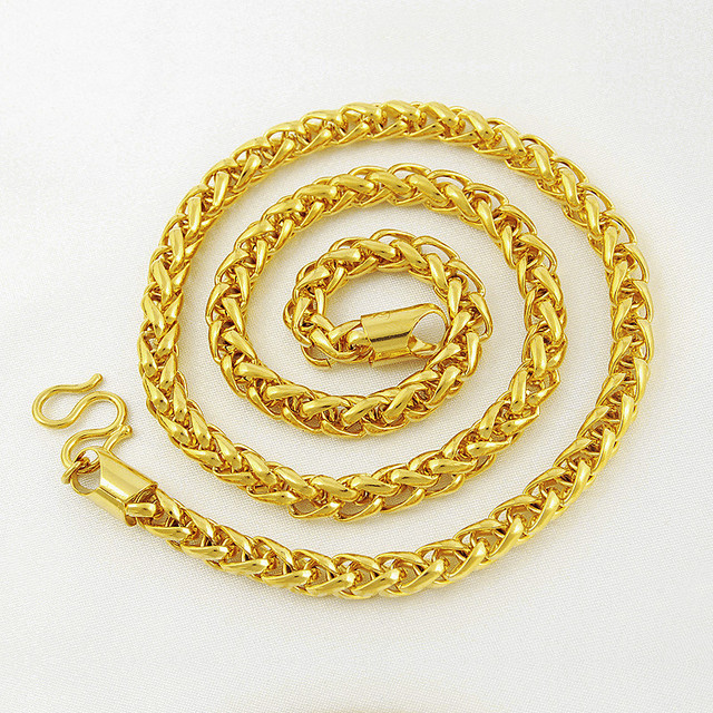 6 MM de Ancho Oro Amarillo Verdadero Lleno Látigo Sólido Collar de Cadena de Moda Para Mujer