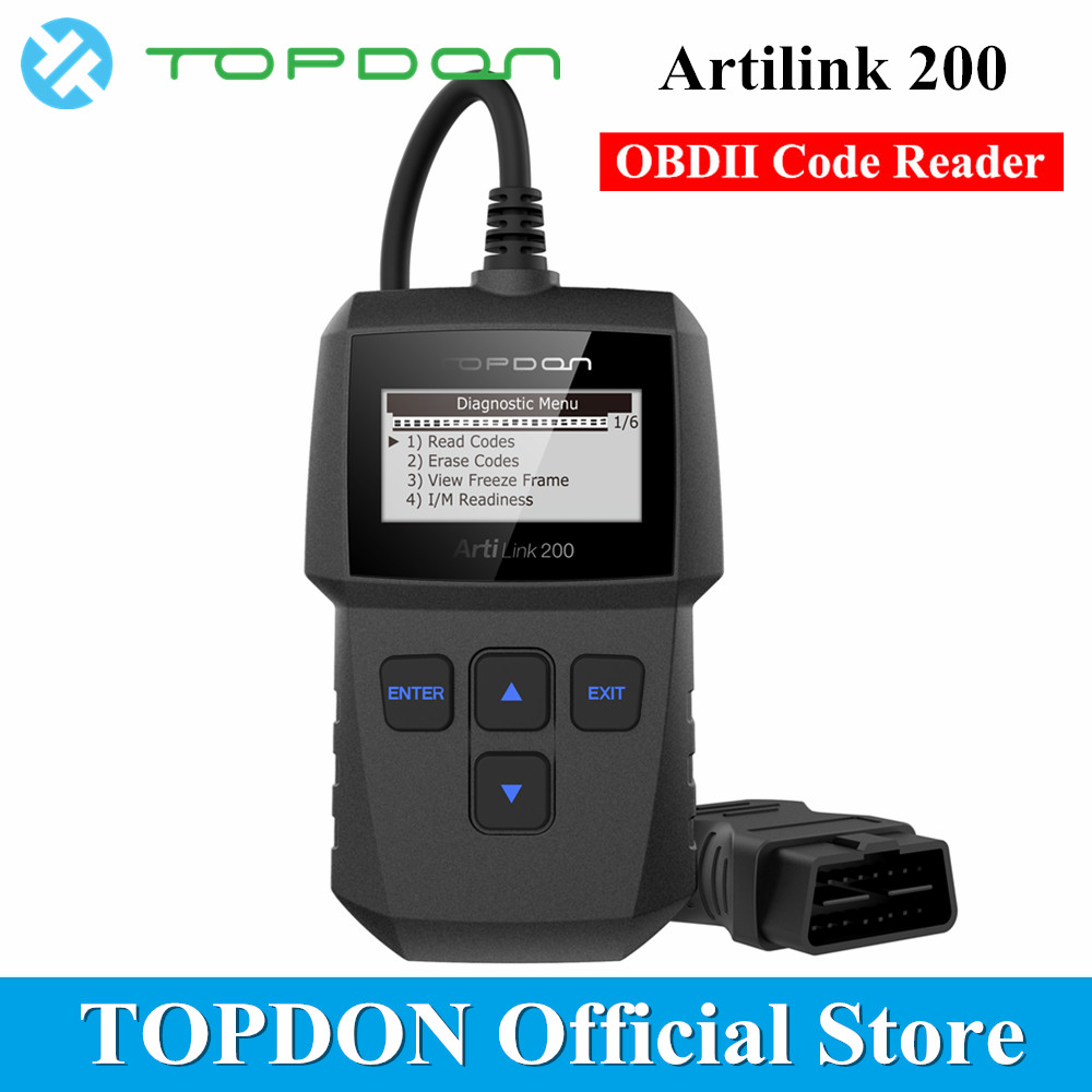 Topdon ArtiLink 201 Auto Code Scanner Check Engine Light Code Reader Scan Tool with O2 Sensor Test View Freeze Frame Data Read Clear DTC OBD2//EOBD Car Diagnostic Automotive Code Reader