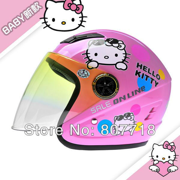 T855 Children's Motorcycle Helmet Hello Kitty Safety Girl Cute Half Kids' Helmets 5 colors S7095 - E-Level Gift Limited store