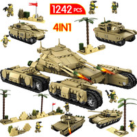 1242pcs Iron Tank Trench LegoINGLy WW2 Military City Series Assemblage Building Blocks Weapon Tank Bricks Toys For Children