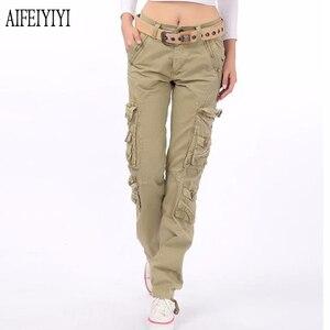 Image 1 - 2020 Men Women Denim Pantalon Femmes Workout Military Multi Pocket Baggy Cargo Pants Loose Straight Trousers Pantalones De Mujer