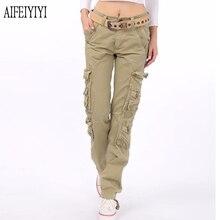 2020 hommes Femmes Denim Pantalon Femmes entraînement militaire multi poche Baggy Cargo Pantalon ample Pantalon droit pantalons De Mujer