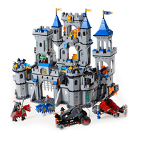Building Block Set Compatible With Lego Enlighten 1023 Medieval Lion Castle Knight Carriage Model Bricks Toys