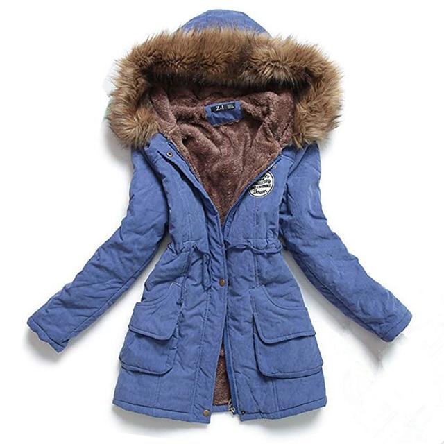 Autumn Winter Jacket Women Parka Warm Jackets Fur Collar Coats Female Long Parkas Hoodies Office Lady Cotton Plus Size 3
