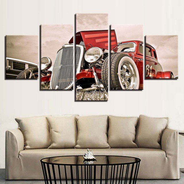 Canvas Wall Art Pictures Home Decor 5 Pieces Hot Rod Red Front View Wheels Paintings Living Room Hd Prints Car Poster Framework