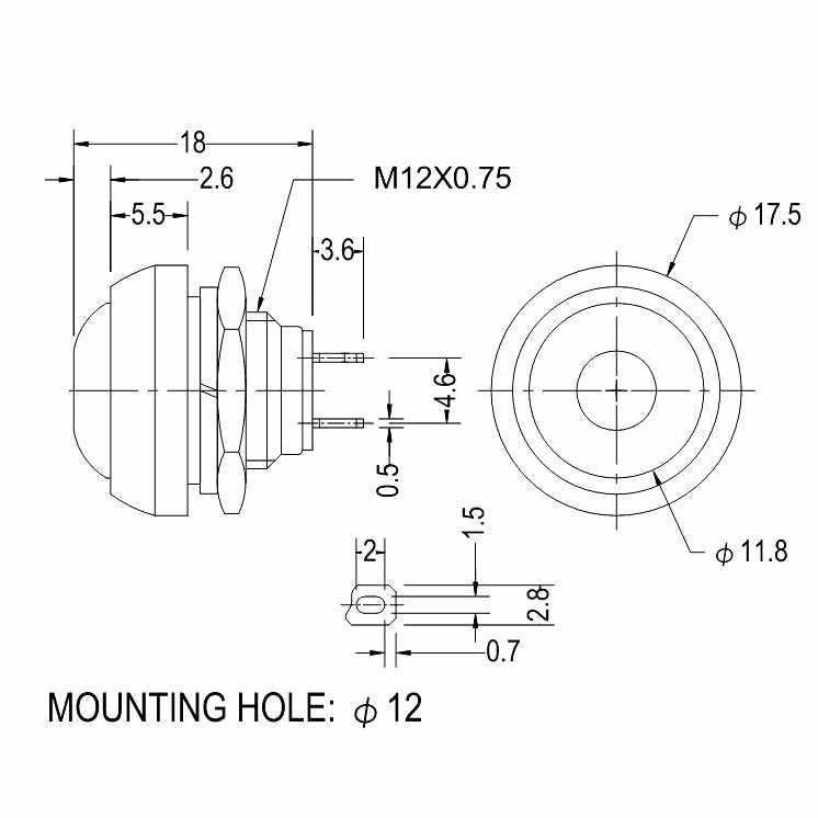 1 Pc sans serrure réinitialiser klaxon interrupteur Mini nouveau commutateur 12mm étanche bouton poussoir interrupteur PBS-33B