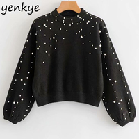 Autumn Women Fashion Faux Pearl Crop Sweater Female Lantern Sleeve O Neck Plus Size Pullover Knitted Christmas Jumper