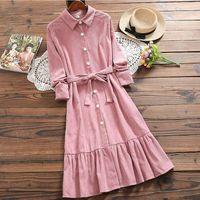 high quality Corduroy Dress Women Turn Down Collar sashes Long Sleeve Mori Girl Vintage Loose Plus Size Pink Winter Dress