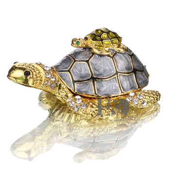 H&D 3inch Turtle Trinket Jewelry Box with Sparkling Crystals,Hinged Trinket Box Hand-painted Figurine Collectible Ring Holder