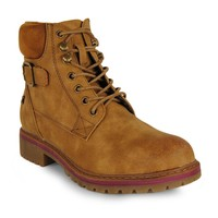 Refresh Women Ankle Boot lacing Buckle Camel