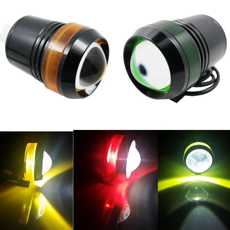 U3 LED Spot Headlight Laser Gun Eye lamp For Motorcycle Projector Fog Driving Light With Ring Angel Eyes Waterproof 12V-80V стоимость