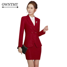 Double button Two Piece Ladies Formal Skirt Suit For Wedding Office Uniform Designs Women Business Suits Red Blazer For work 4XL