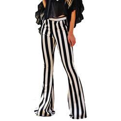 Yjsfg дом Для женщин Высокая Талия расклешенные длинные Брюки для девочек Тонкий Тощий Леди Леггинсы эластичные штаны в полоску boot cut брюки
