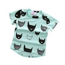 Летние детские футболки с короткими рукавами и принтом головы для маленьких мальчиков и девочек, новая хлопковая Футболка с рисунком летучей мыши