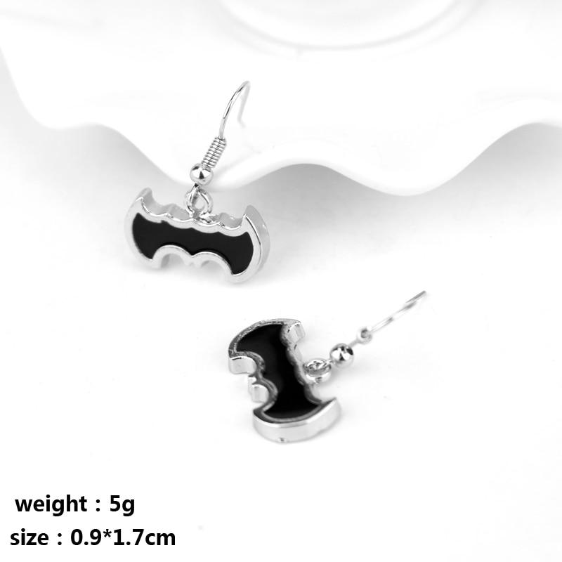 Super Hero Series DC Comics Batman Logo Alloy Pendent Charm Dangle Earrings Dark Knight Hook Earring Gift For Fans Woman Gift