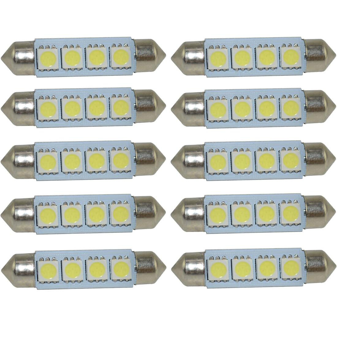 Safego 10pcs Festoon <font><b>LED</b></font> C5W 31mm <font><b>42mm</b></font> <font><b>LED</b></font> dome Bulbs 4 SMD 5050 Car interior Lights Auto License Plate Light Lamp 12V White
