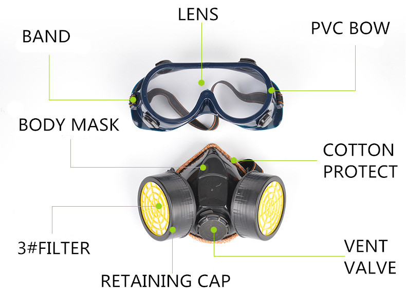 Dual Anti-Dust Spray Paint Industrial Chemical Gas Respirator Mask Glasses Set