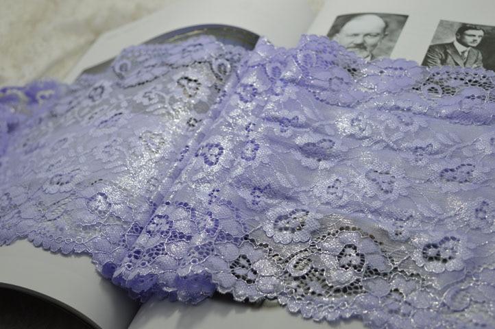 Somelace 22 см ширина(2 ярдов/партия) Фиолетовый эластичный кружевной ткани, швейная отделка Свадебное кружево, DIY аксессуары для одежды