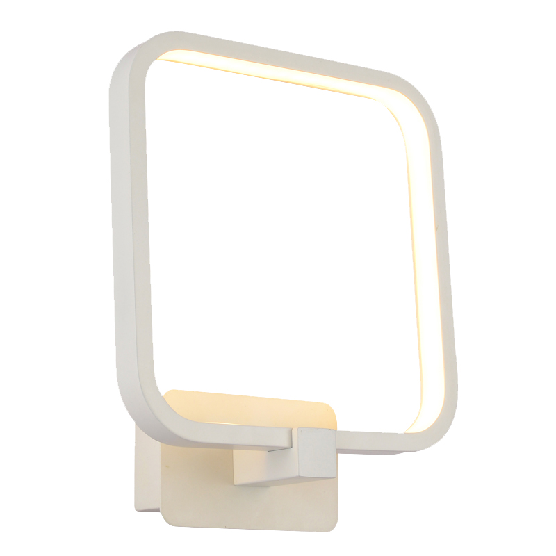 Modern 15W LED Bedroom Wall Light Square White Aluminum Frame Mirror Front Wall Sconce Creative Stair Corridor Bathroom Wall Lig