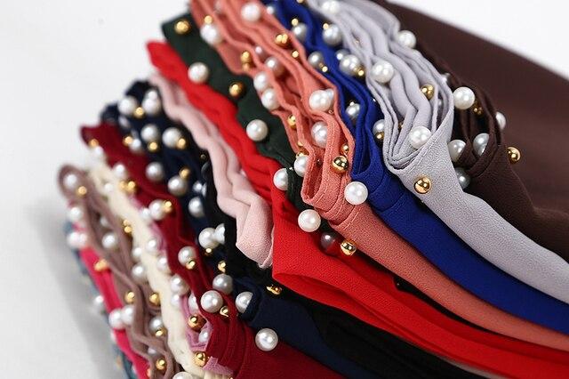 Phụ Nữ Bong Bóng Khăn Voan Trắng Hạt Khăn Choàng Hijab Ngọc Trai Vàng Đầu Bọc Hồi Giáo Dài Khăn 180*75Cm 10 cái/lốc 20 Màu