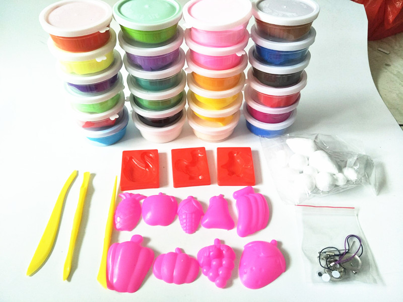 24 Colors Air Dry Colored Clay Cold Porcelain Play Dough Children Foam Clay Kids Intelli ...