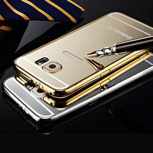 Ultrathin Golden Mirror Aluminum Case For Samsung Galaxy S6 Luxury Back Cover For Pouch Samsung S6 Case Free Tempered Glass