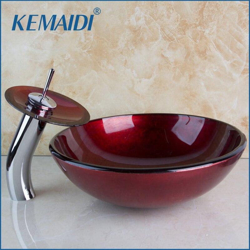 KEMAIDI bourgogne populaire bonne qualité robinet en verre Construction immobilier salle de bain navire avec égouttoir verre bassin évier ensemble
