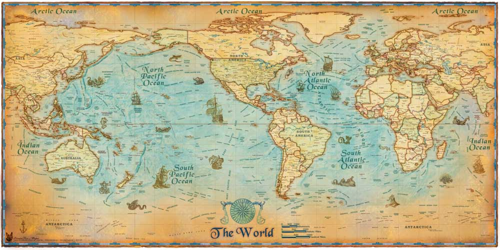 Vintage nautical world sea map canvas oil painting retro wall the main picture gumiabroncs Image collections