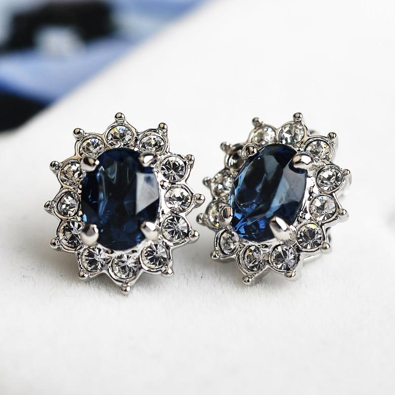 Pendientes de clip de cristal de circonita azul USTAR para mujer - Bisutería - foto 3