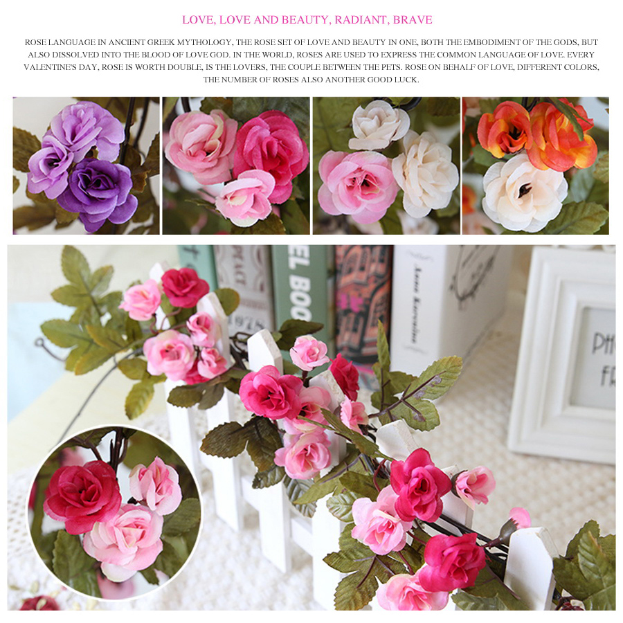 230cm Wedding Decoration Fake Silk Roses Ivy Vine Artificial Flowers