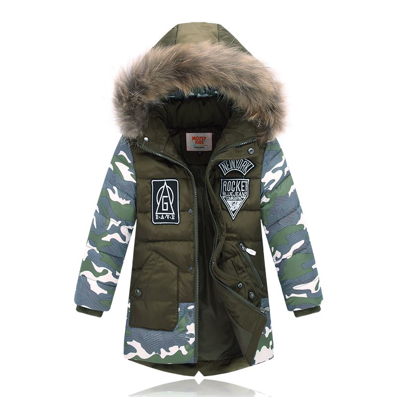Winter Jacket For Boy Real Fur Hooded Down Jacket 2 10Y Kids Boys Casual Warm Thicken Children ...