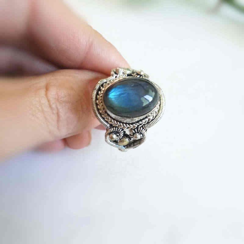 R087 népal main bijoux cuivre incrusté naturel Labradorite Vintage anneaux ouvert grande taille pour homme