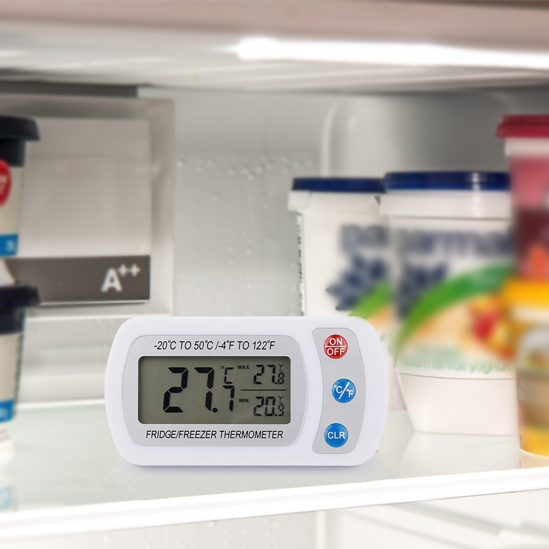 Indoor with Hook Hanging Digital LCD Electronic Fridge Freezer Thermometer