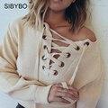 Julissa Mo Suéter Mujeres 2016 Deep V Neck Lace Up cruz de Punto Mullido Flojo Pullover Jumper Tops Suéter de Las Mujeres de La Calle Outwear