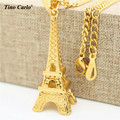 Tino Carlo Men's 3D Paris Eiffel Tower Necklace Stainless Steel Gold Plated Landmark Eiffel Lover's Romantic Necklace