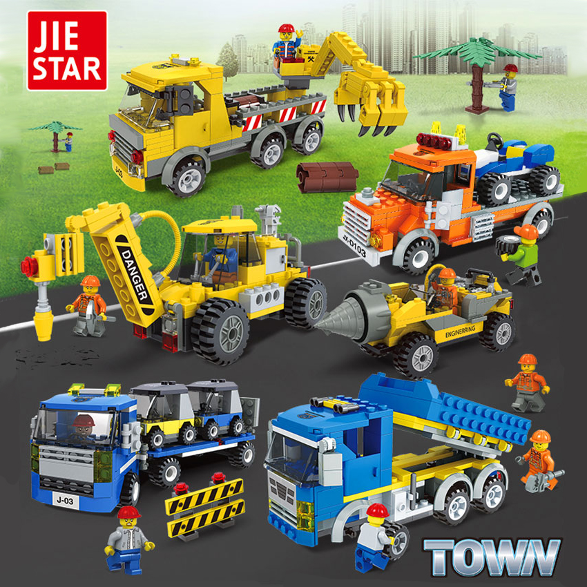 JIE-STAR City Engineering Series Building Blocks Toys for Children Kids Educational Blocks Toys Best birthday Gift for Boys jie star fire ladder truck 3 kinds deformations city fire series building block toys for children diy assembled block toy 22024