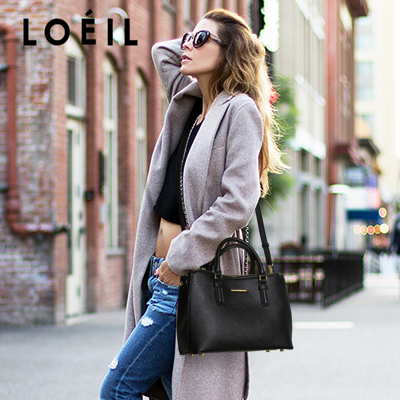 LOEIL Bag female 2018 autumn and winter new leather handbags European and American fashion handbags shoulder diagonal big bag loeil leather ladies bag european and american fashion handbags shoulder messenger bag cowhide handbags bag