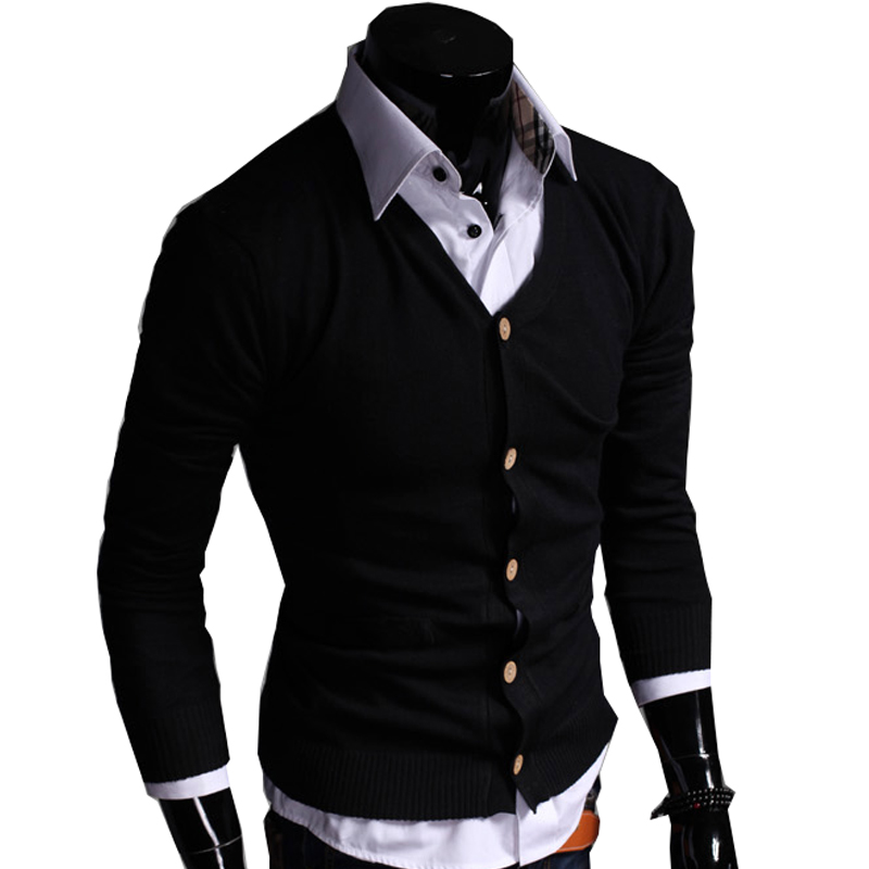 Autumn Cotton Sweater Men Cardigan Casual Solid Long Sleeve Knitted Men Cardigan Plus Size Slim V-Neck Sweater Men's 3XL