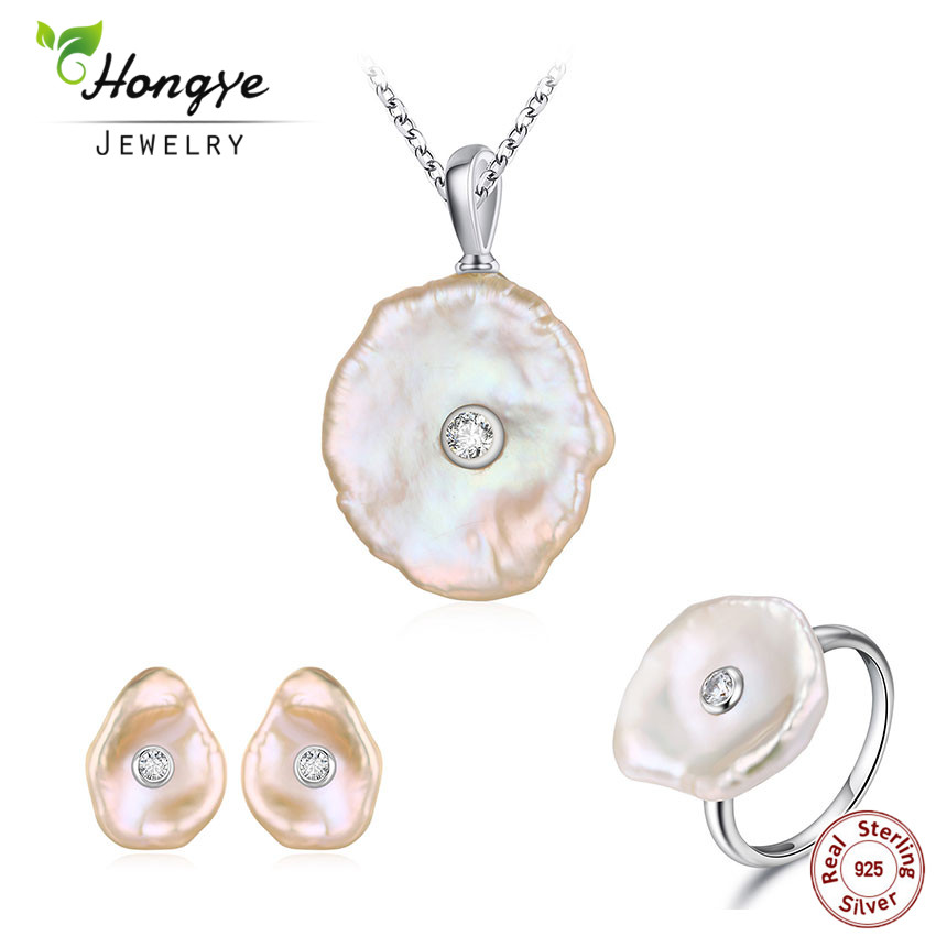 Hongye 925 Silver Jewelry Sets for Women Natural Freshwater Pearl Stud Earrings Flat Baroque Necklace Jewelry Set Wedding Gift
