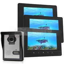 DIYSECUR 7 pulgadas Video de La Puerta Del Timbre Del Teléfono de Intercomunicación de Vídeo IR Cámara de Visión Nocturna 3 Monitores 800×480 Negro