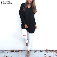 ZANZEA Women Sweaters Pullover 2017 Autumn Knitted Tops Blusas V Neck Long Sleeve Casual Loose Solid