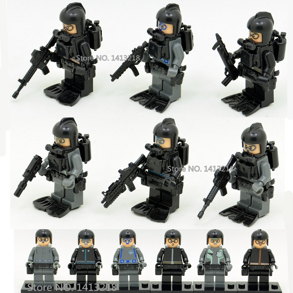 6pcs UDT US Navy Seals Team Soldier World War 2 Military Army Weapon SWAT CS Gun Special Forces Building Blocks Boy Toy Gift armed assault military army world war 2 weapon swat soldier gun heavy fire building blocks boy educational toy children gift kid