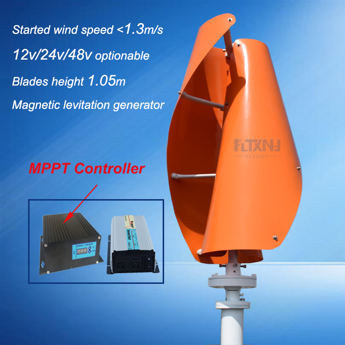 new 300w 12v/24v vertical axis permanent magnet wind turbine with MPPT controller and 1kw pure sine wave inverter free energy wind generator 300w 12v 24v vertical axis wind turbine with 300w wind charge controller and 1000w inverter