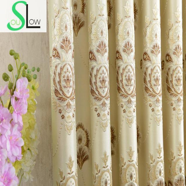 Slow Soul Coffee Yellow Blue Pink Curtain Jacquard Fabric French Window Pleated Curtains For Living Room